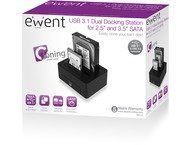 Ewent EW7014 USB 3.1 Gen1 (USB 3.0) Dual HDD Docking Station