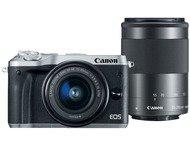 Canon EOS M6 Boîtier + 15-45mm + 55-200mm - Argent
