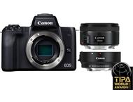 Canon EOS M50 Body + 15-45mm + 50mm + Adapter - Zwart