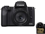Canon EOS M50 Body + 15-45mm + 22mm - Zwart