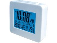 Denver rec34wh white Digital radiocontrolled alarm met blue